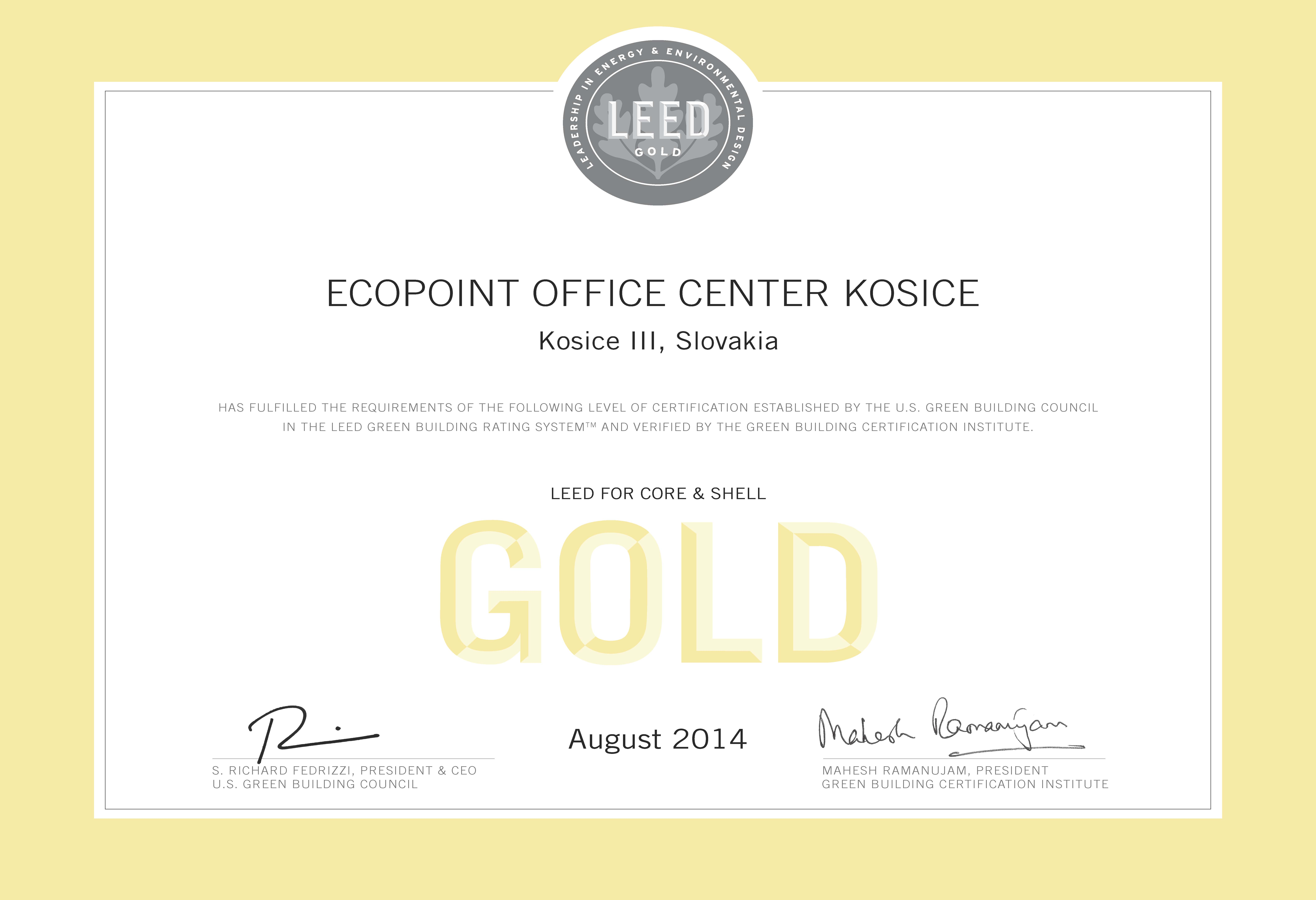 Certification Of Leed Gold Ecopoint